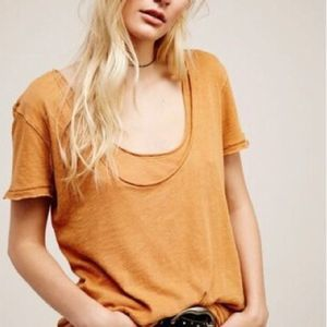 NWT $58 Free People Mustard Layered Scoopneck Top